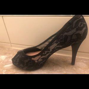 Cocktail black lace heels